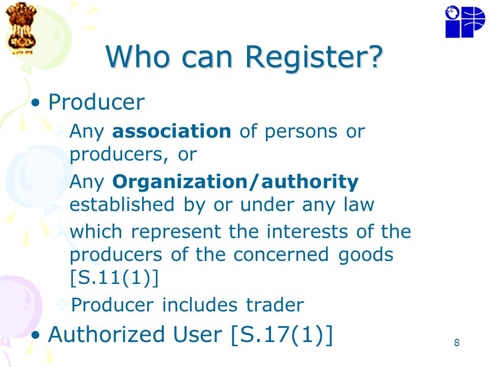 Who can Register Producer Authorized User [S.17(1)]